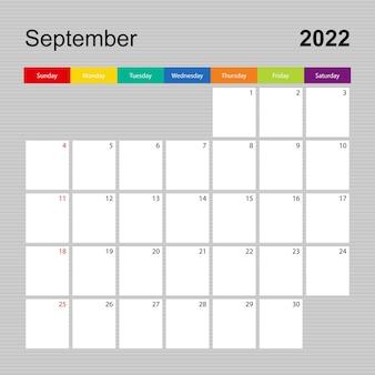Ð pagina dell'agenda per settembre 2022, pianificatore da parete con design colorato. la settimana inizia di domenica.