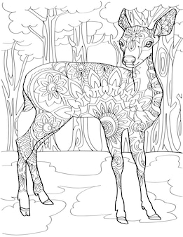 Cervi attenti in piedi nel mezzo della foresta incolore che disegnano bellissimi piccoli stand di daini