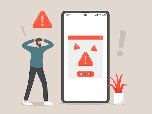 Icona del file di avviso o messaggio di attenzione, phishing, criminalità informatica e illustrazione di concetto online di frode con il simbolo di avviso del telefono