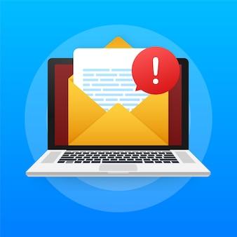 Notifica del laptop con messaggio di avviso. avvisi di errore di pericolo, problemi di virus del laptop o notifiche di problemi di spam di messaggistica non sicura