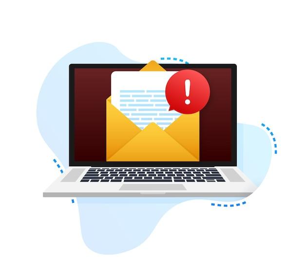 Messaggio di avviso notifica del laptop l'errore di pericolo segnala il problema del virus del laptop o la messaggistica non sicura