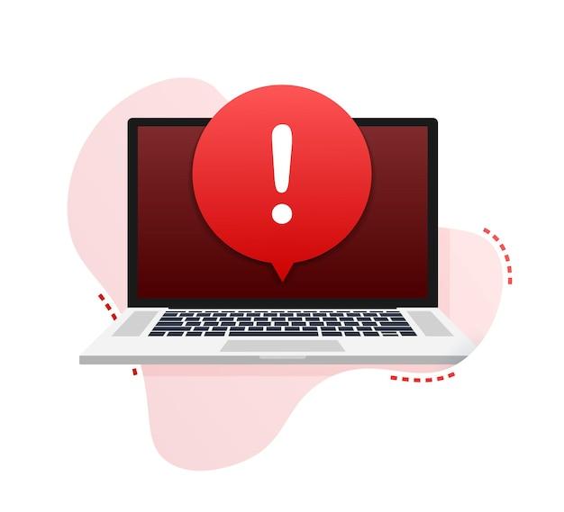 Messaggio di avviso notifica laptop errore di pericolo avvisi problema virus laptop