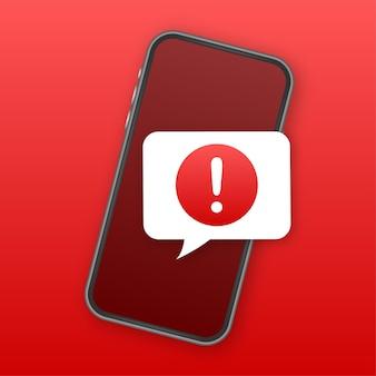 Notifica mobile del messaggio di avviso. avvisi di errore di pericolo, problemi di virus dello smartphone o notifiche di problemi di spam di messaggistica non sicura. illustrazione vettoriale.