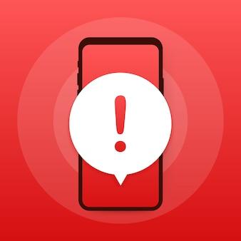 Notifica mobile messaggio di avviso. avvisi di errori di pericolo, problemi di virus dello smartphone o notifiche di problemi di spam con messaggi non sicuri.