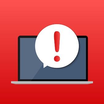 Notifica mobile del messaggio attento sul concetto dello schermo del computer portatile. illustrazione.