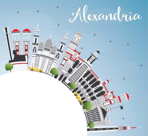 Orizzonte della città di alessandria d'egitto con edifici grigi, cielo blu e spazio di copia. illustrazione di vettore. viaggi d'affari e concetto di turismo con architettura storica. paesaggio urbano di alessandria con punti di riferimento.