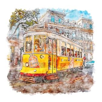 Illustrazione disegnata a mano di schizzo dell'acquerello di alfama lisboa portogallo