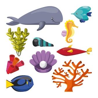 Conchiglia di alghe pesci corallini ostrica e icona di cavalluccio marino