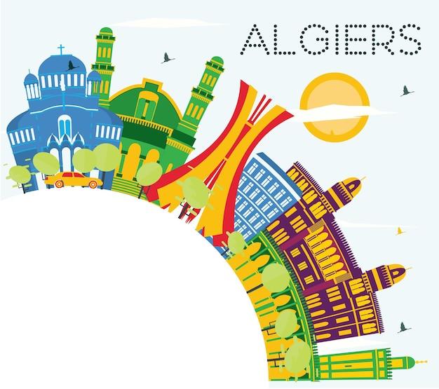 Orizzonte della città di algeri algeria con edifici di colore, cielo blu e spazio di copia. illustrazione di vettore. viaggi d'affari e concetto di turismo con edifici storici. paesaggio urbano di algeri con punti di riferimento.