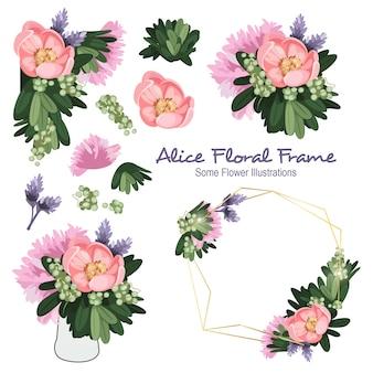 Alice geometrical floral frame ornament