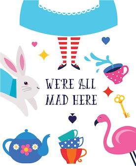 Poster di alice nel paese delle meraviglie con scritte we are all mad here
