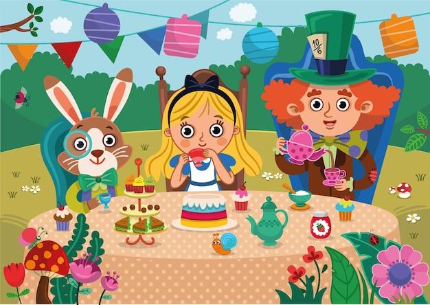 Alice nel paese delle meraviglie illustrazione vettoriale alice coniglio bianco e cappellaio matto in un tea party