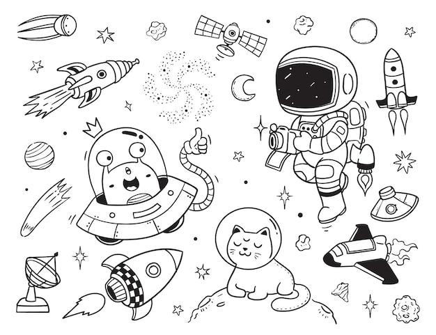 Alieno e astronauta doodle clipart per bambini