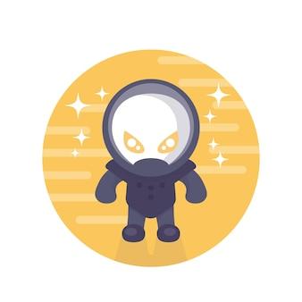 Astronauta alieno icona rotonda in stile piatto su bianco, illustrazione vettoriale