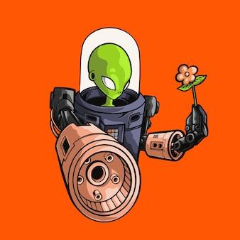 Cartone animato alieno che trasporta arma e illustrazione di fiori