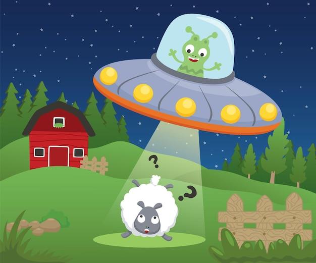 Di cartone animato alieno in ufo che rapisce una pecora nel campo dell'azienda agricola
