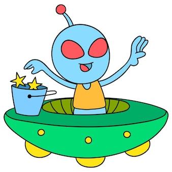 Bambino alieno che vola a bordo di un aereo ufo attraverso lo spazio, disegno di un simpatico personaggio scarabocchio. illustrazione vettoriale