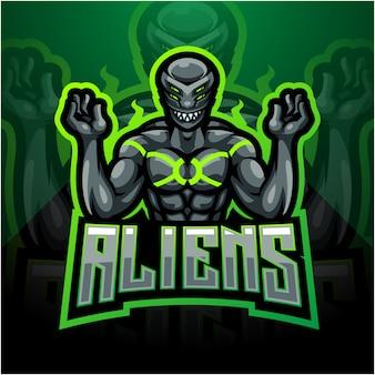 Alien esport logo design della mascotte