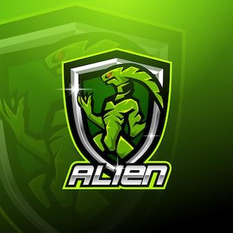 Modello di logo mascotte alieno esport