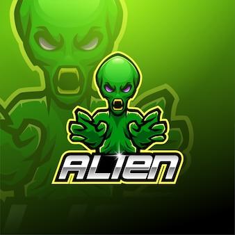 Logo della mascotte aliena esport Vettore Premium