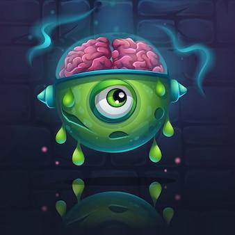Occhio alieno con gocce verdi sul muro di mattoni