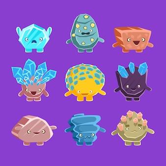 Personaggi alieni del golem fantastico di diverse rocce umanizzate con facce amichevoli collezione emoji