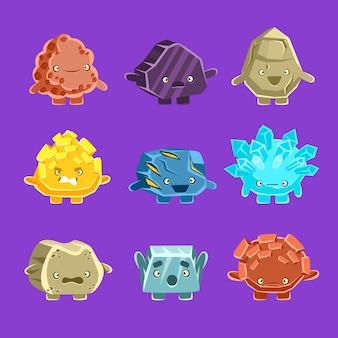 Personaggi alieni del golem fantastico di diverse rocce umanizzate con set di facce amichevoli emoji