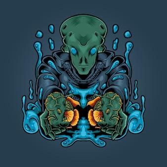 Illustrazione di pesce corno fiore alieno