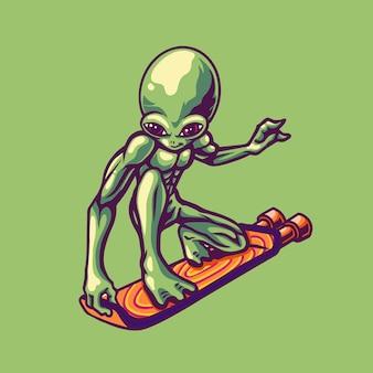 Illustrazione di jet volante alieno