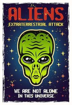 Poster colorato testa aliena verde con trame e testo di esempio su livelli separati. illustrazione vettoriale