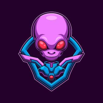 Concetto di gioco logo testa aliena