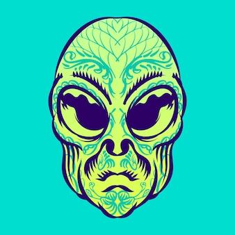 Testa aliena con illustrazione del tatuaggio per il carattere dell'elemento distintivo del logo