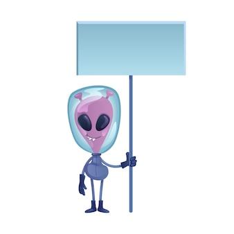 Alien holding banner bianco design piatto cartoon illustrazione