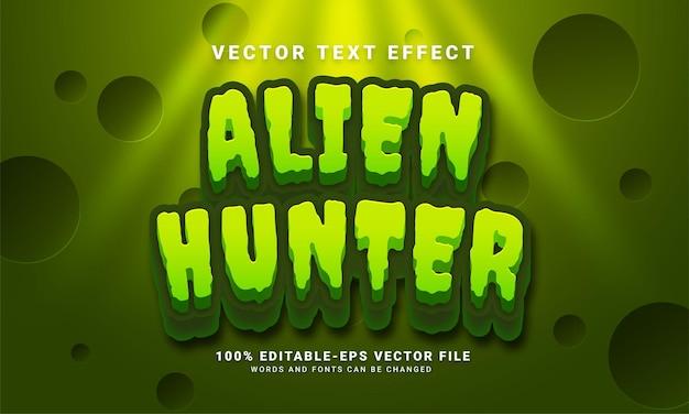 Effetto di testo modificabile del cacciatore di alieni adatto al tema dell'avventura spaziale