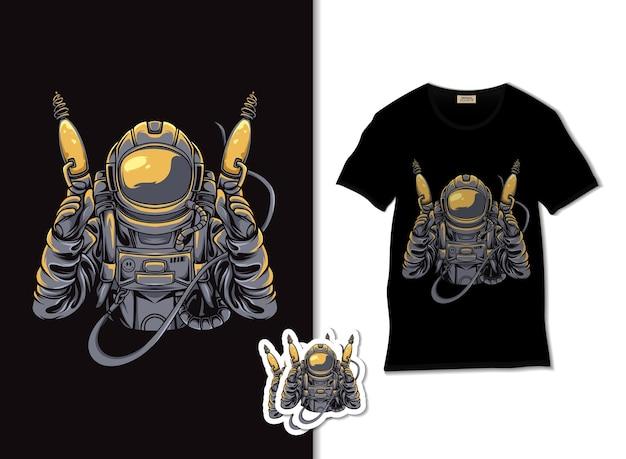 Illustrazione di cacciatore alieno con design t-shirt, disegnato a mano