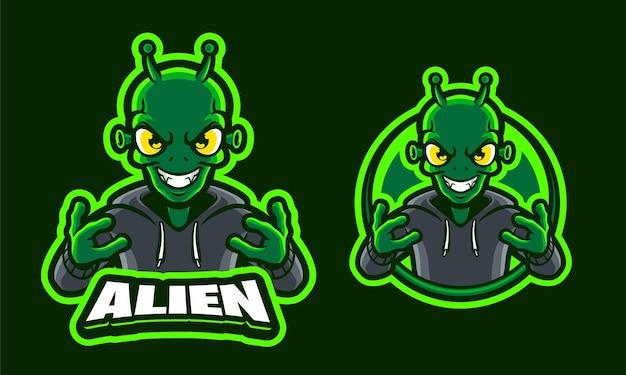 Modello logo illustrazione alien