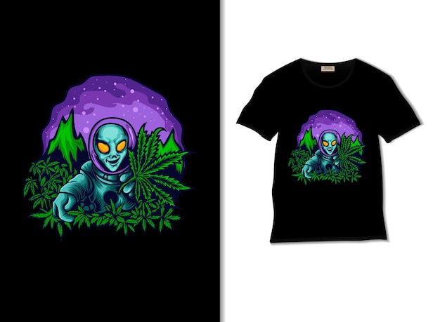 Alien invade un'illustrazione di un giardino di cannabis con il design della maglietta Vettore Premium