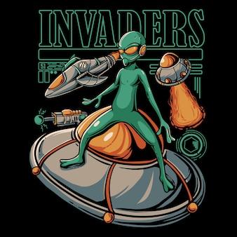 Illustrazione di invasione aliena. ufo e attacchi di astronave