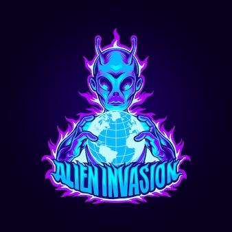 Illustrazione di mascotte invasione aliena