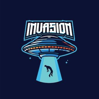 Modello di logo della mascotte di invasione aliena