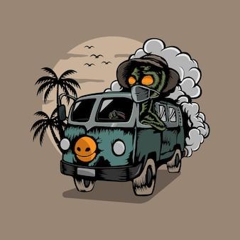 Un alieno sta guidando per andare in vacanza