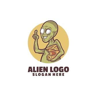 Modello di logo alieno isolato su bianco