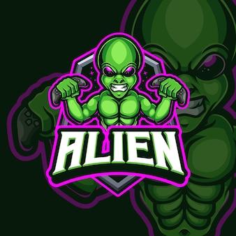 Design del logo di gioco esport mascotte aliena