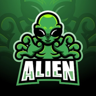 Mascotte aliena esport logo design
