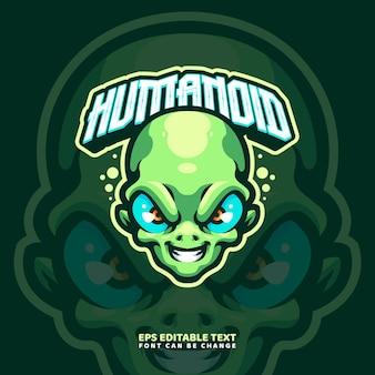 Modello di logo della mascotte aliena