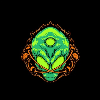 Illustrazione di maschera aliena