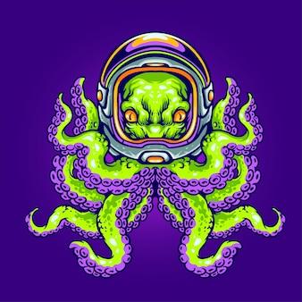 Polpo alieno che indossa il casco astronauta