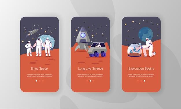 Modelli di schermata della pagina dell'app mobile per la missione di colonizzazione del pianeta alieno