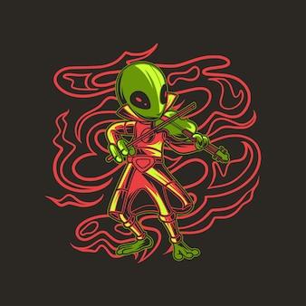 Alien che suona l'illustrazione cool del violino