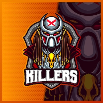 Alien predator killers mascotte esport logo design illustrazioni modello, logo predator